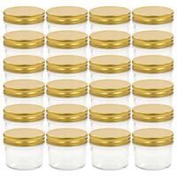 vidaXL Lasiset hillopurkit kullan värisillä kansilla 24 kpl 110 ml