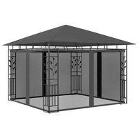 vidaXL Huvimaja hyttysverkolla 3x3x2,73 m antrasiitti 180 g/m²