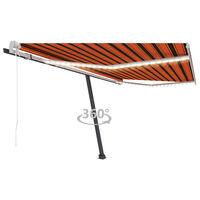 vidaXL Sisäänkelattava markiisi LED/tuulisens. 450x300cm oranssiruskea