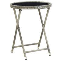 vidaXL Teepöytä harmaa 60 cm polyrottinki ja karkaistu lasi