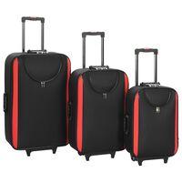 vidaXL Pehmeäpintaiset matkalaukut pyörillä 3 kpl musta Oxford kangas