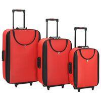 vidaXL Pehmeäpintaiset matkalaukut 3 kpl punainen Oxford kangas