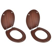 vidaXL WC-istuimet hard-close kansilla 2 kpl MDF ruskea