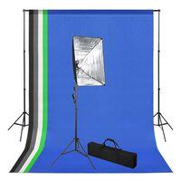 vidaXL Valokuvastudiosarja taustakankaalla ja softbox-valo