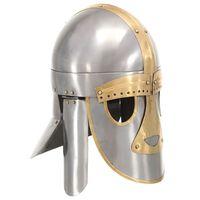 vidaXL Keskiaikainen kypärä antiikki kopio hopea teräs