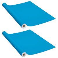 vidaXL Itseliimautuvat huonekalukalvot 2 kpl taivaansin. 500x90 cm PVC