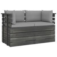 vidaXL Garden 2-Seater Pallet Sofa with Cushions Solid Pinewood (2x315419+2x315065)