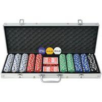 vidaXL Pokerisarja, jossa 500 Pelimerkkiä Alumiini