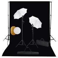 vidaXL Valokuvastudiosarja valot, varjot, taustakangas ja heijastin