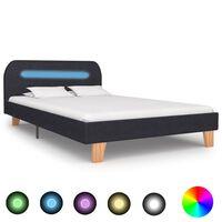 vidaXL Sängynrunko LED-valolla tummanharmaa kangas 120x190 cm