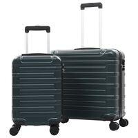 vidaXL Kovapintainen matkalaukkusarja 2 kpl vihreä ABS