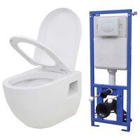 vidaXL Seinään kiinnitettävä WC ja piilotettu säiliö keramia valkoinen