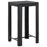 vidaXL Puutarhan baaripöytä musta 60,5x60,5x110,5 cm polyrottinki