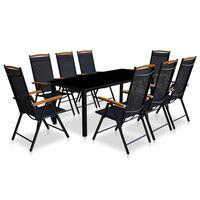 vidaXL 9-osainen Ulkoruokailuryhmä kokoontaittuvat tuolit alumiini
