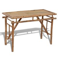 vidaXL Kokoontaitettava puutarhapöytä 120x50x77 cm bambu