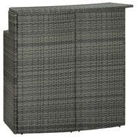 vidaXL Puutarhan baaripöytä harmaa 120x55x110 cm polyrottinki