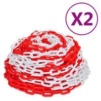 vidaXL Varoitusketjut 2 kpl punainen ja valkoinen muovi 30 m