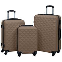 vidaXL Kovapintainen matkalaukkusetti 3 kpl ruskea ABS