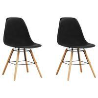 vidaXL Ruokapöydän tuolit 2 kpl musta muovi