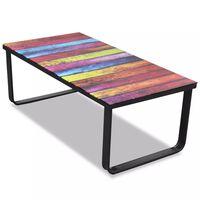 vidaXL Sohvapöytä lasisella pöytälevyllä ja sateenkaaren väreillä