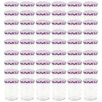 vidaXL Lasiset hillopurkit valkovioleteilla kansilla 48 kpl 400 ml