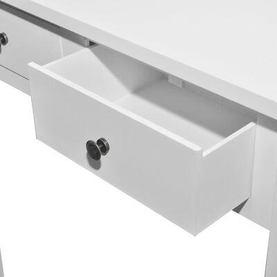 vidaXL Sivupöytä 2 laatikkoa Valkoinen