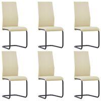 vidaXL Takajalattomat ruokapöydän tuolit 6 kpl cappuccino keinonahka