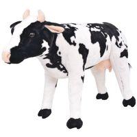 vidaXL Seisova pehmolelu lehmä musta ja valkoinen XXL