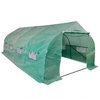 vidaXL Muovikatteinen kasvihuone teräsrungolla 18m² kannettava