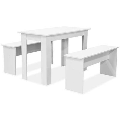 vidaXL Ruokapöytä ja penkit 3 kpl Lastulevy Valkoinen