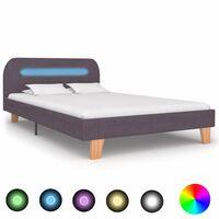vidaXL Sängynrunko LED-valolla harmaanruskea kangas 120x190 cm