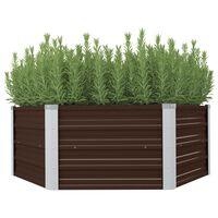 vidaXL Korotettu puutarhalaatikko 129x129x46cm galvanoitu teräs ruskea