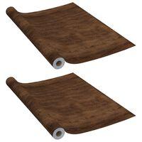 vidaXL Itseliimautuvat huonekalukalvot 2 kpl tumma tammi 500x90cm PVC
