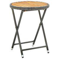 vidaXL Teepöytä harmaa 60 cm polyrottinki ja täysi akaasiapuu