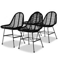 vidaXL Ruokapöydän tuolit 4 kpl musta luonnollinen rottinki