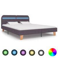 vidaXL Sängynrunko LED-valolla harmaanruskea kangas 180x200 cm
