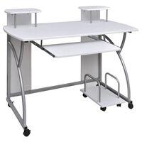 Valkoinen Tietokonepöytä Ulosvedettävällä Näppäintasolla