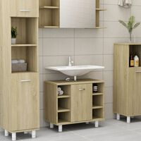 vidaXL Bathroom Cabinet Sonoma Oak 60x32x53,5 cm Chipboard