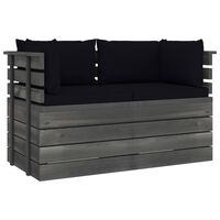vidaXL Garden 2-Seater Pallet Sofa with Cushions Solid Pinewood (2x315419+2x315071)