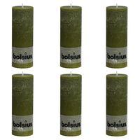 Bolsius Pilarikynttilät 6 kpl rustiikkinen 190x68 mm oliivi