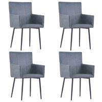 vidaXL Ruokapöydän tuolit käsinojilla 4 kpl harmaa keinomokkanahka