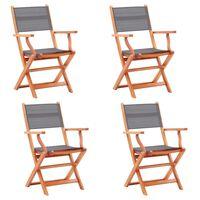 vidaXL Kokoontaittuvat puutarhatuolit 4 kpl eukalyptuspuu ja textilene