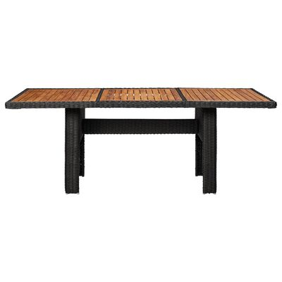 vidaXL Puutarhan ruokapöytä musta 200x100x74 cm polyrottinki