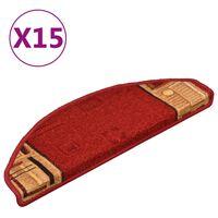 vidaXL Itsekiinnittyvät porrasmatot 15 kpl punainen 65x21x4 cm