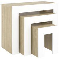 vidaXL Sarjasohvapöydät 3 kpl valkoinen ja Sonoma-tammi lastulevy