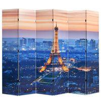 vidaXL Kokoontaitettava tilanjakaja 228x170 cm Pariisin yömaisema