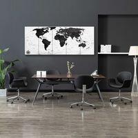 vidaXL Kanvaasitaulusarja maailmankartta valkoinen 200 x 80 cm