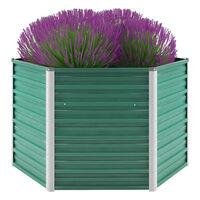 vidaXL Korotettu kukkalaatikko galvanoitu teräs 129x129x77 cm vihreä