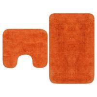 vidaXL Kylpyhuoneen mattosarja 2 osaa kangas oranssi
