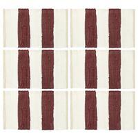 vidaXL Tabletit 6 kpl Chindi-raita viininpunainen ja valkoinen 30x45cm